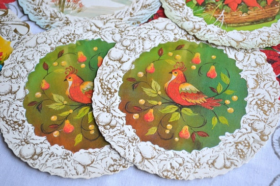 Vintage Christmas Cards - Round Embossed Greeting Cards in Mod Color - A Set of 12