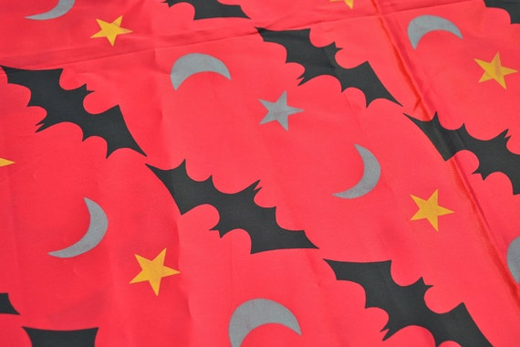 Vintage Halloween Fabric - Sorcerers Red Satin Bats Stars and Moons - 45 x 34