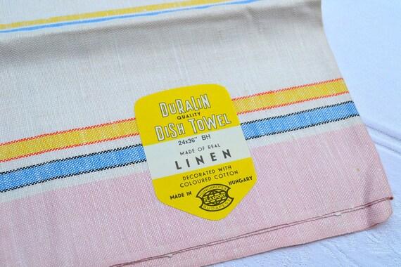 Vintage Linen Kitchen Dishtowel - Pink Pastel Stripe - NOS
