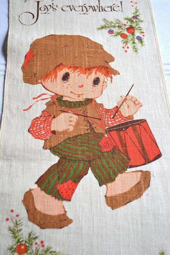 Vintage Mary Hamilton Christmas Drummer Boy - Linen Towel Wallhanging