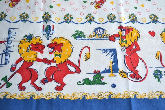 Vintage Border Fabric - Hipster Lion Dance Party - 34 x 55