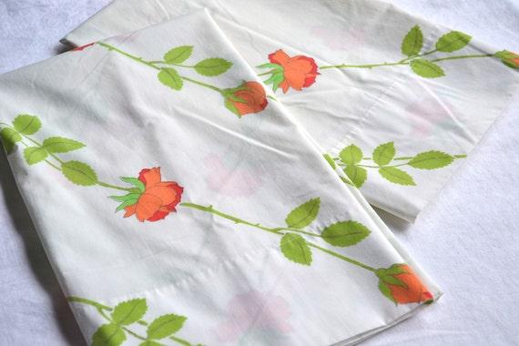 Vintage Pillowcases - Long Stem Orange Roses by Dior - Standard Size Pair