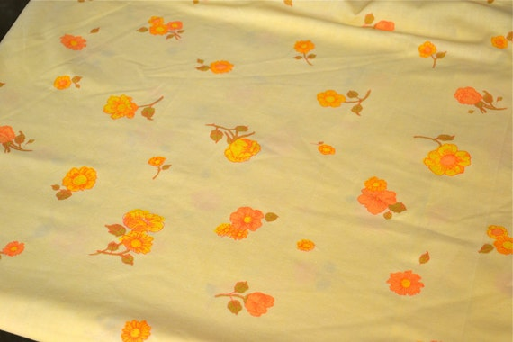 Vintage Bed Sheet - Sunny Yellow and Orange Blossoms - Full Fitted NOS