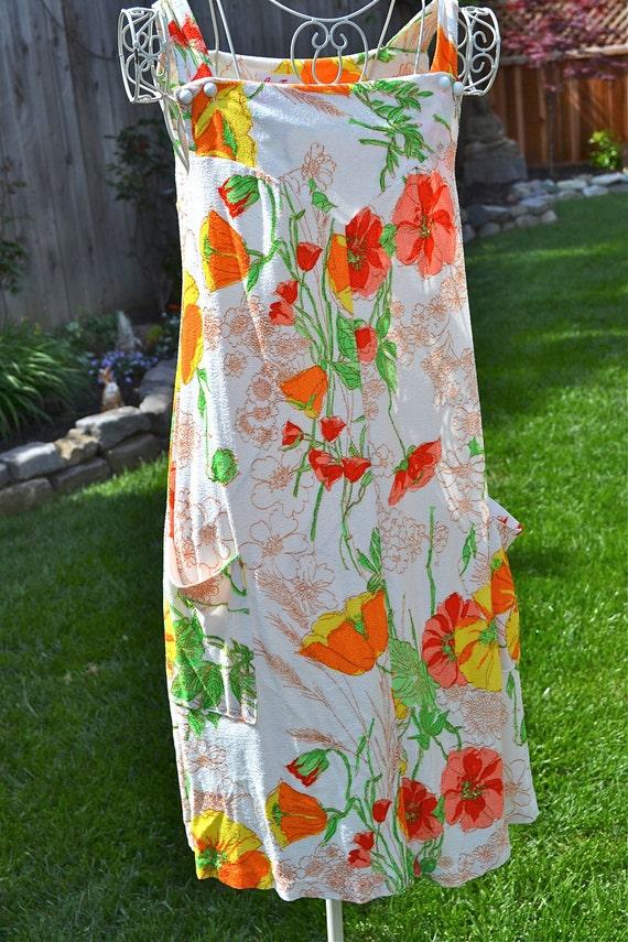 Vintage Terry Cloth Sun Dress - Mod Poppy Flowers - Size L