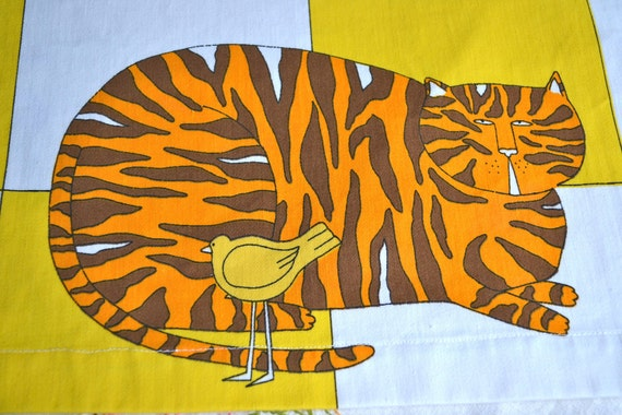 Vintage Fabric - Schumacher Cats and Birds on Yellow - 23 x 51 Valance
