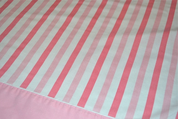 Vintage Bed Sheet - Pink Candy Stripes - Twin Flat