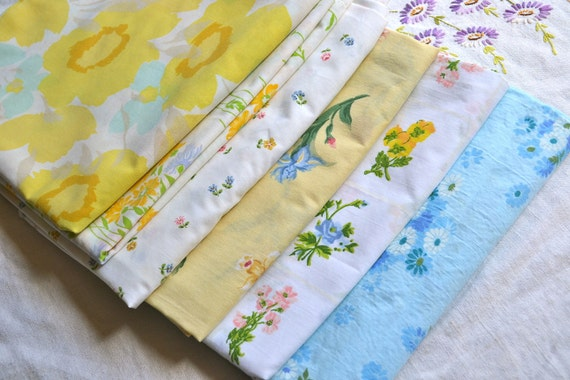 Vintage Pillowcases - Mix and Match Yellows and Blues - 6 cases