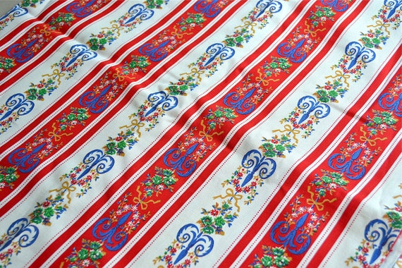 Vintage Fabric - Red White and Blue Floral Stripe Canvas - 44 x 36