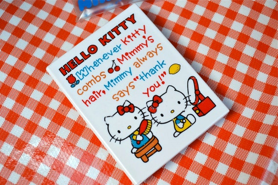 Vintage Hello Kitty Mirror and Comb Compact Set - 1976