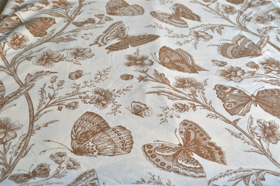 Vintage Bed Sheet - Brown Butterfly Print - King Flat