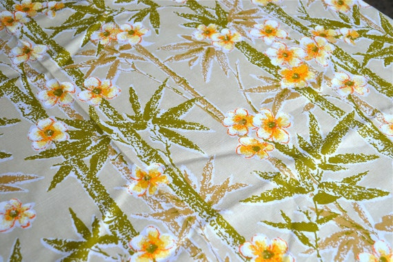 Vintage Fabric - Bamboo and Yellow Blossoms - Upholstery By the Yard
