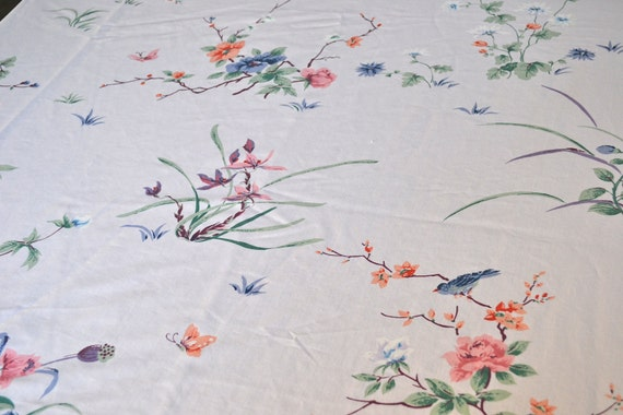 Vintage Bed Sheet - Oriental Birds and Blossoms - King Flat