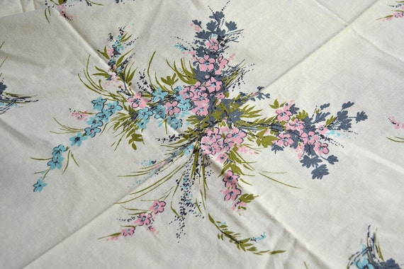 Vintage Fabric - Sprays of Pink and Blue Flowers - Tablecloth Fabric 50 x 71