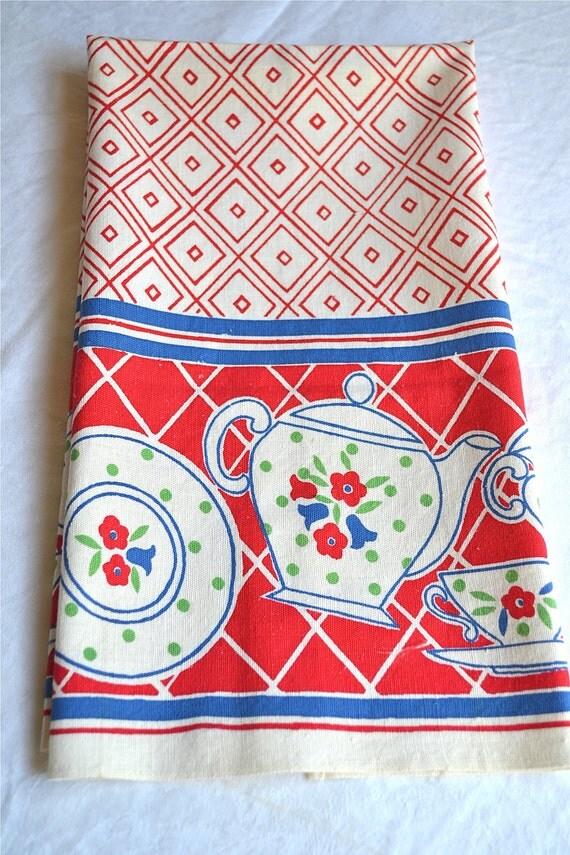 Vintage Kitchen Dish Towel - Red and Blue Teapot Print - Cotton Linen