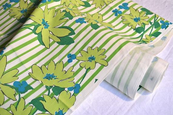 Vintage Fabric - Chartreuse Daisy Stripe - Cotton Canvas - 20 x 60