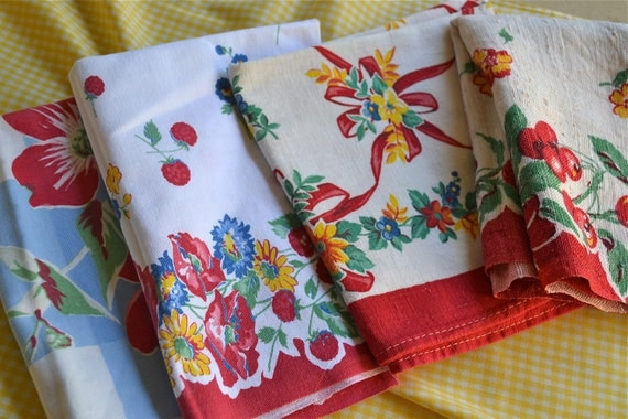 Vintage Kitchen Dish Towels A Collection in Red by