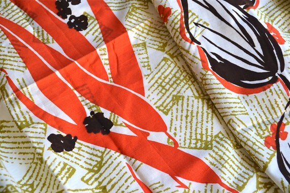 Vintage Fabric - Mid Century Tropical Print - Cotton 3 Yards