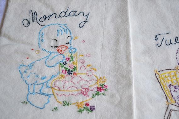 Kitchen Dish Towels - Days of the Week Ducks - Flour Sack Ducks - A Set of 7