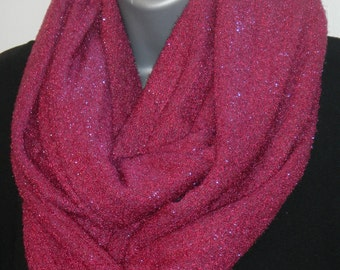 Fuchsia Sweater Knit Cowl Scarf