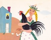 A Bird in the Hand vintage 1949 illustration page chicken rooster farm Alice and Martin Provensen - Free U.S. shipping