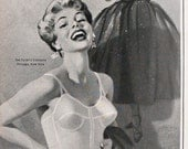 1953 ad Formfit Bra and Girdle Longline pinup model illustration black and white Mad Men era style fun retro sexy to frame -Free US shipping
