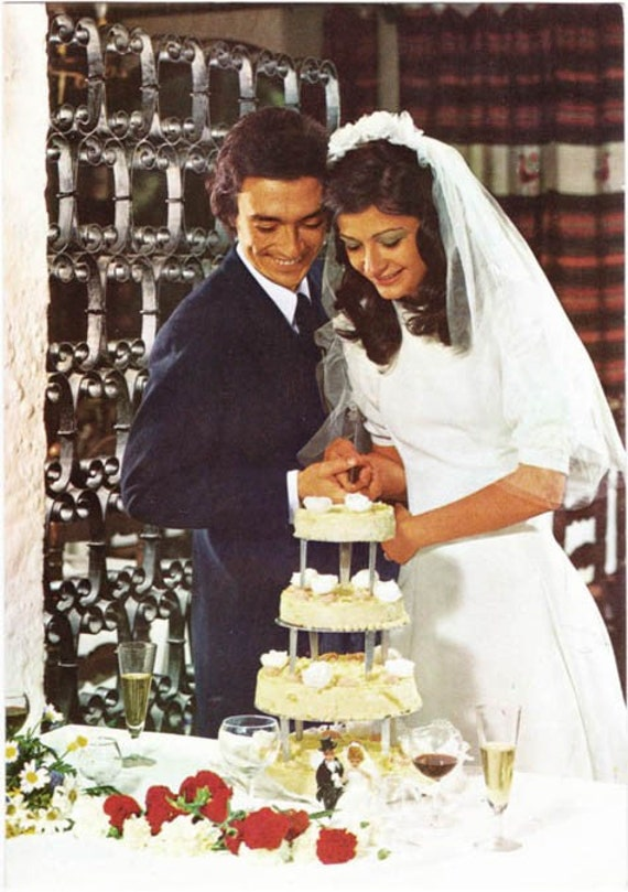 Vintage Postcard 1970s Bride And Groom Cut By Arcaniumantiques