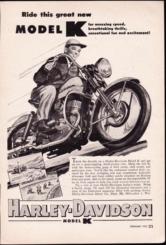 Harley Davidson Advertising: Vintage Ad 1953 HARLEY DAVIDSON Model K By ArcaniumAntiques
