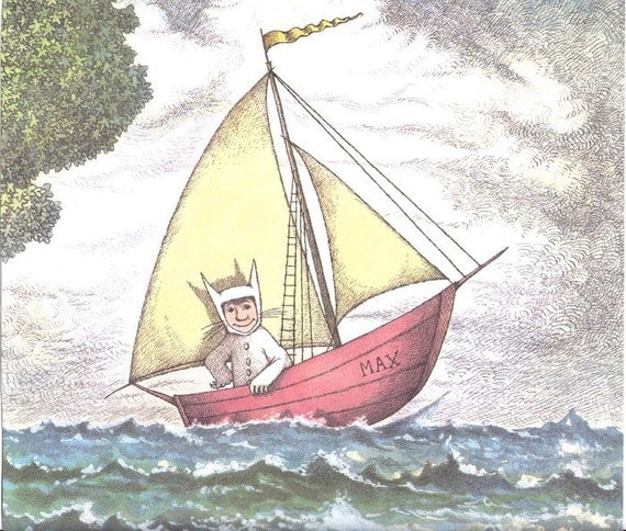 Vintage book page Max in boat Where the Wild Things Are by Maurice Sendak - Free U.S. shipping