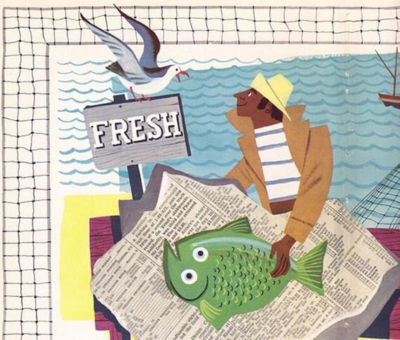 Fresh Fish vintage 1949 illustration page Alice and Martin Provensen seafood fisherman wharf fishing boat - Free U.S. shipping