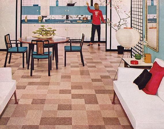 1950s ad Bakelite Vinyl Resin floor tile Mid-Century Modern vintage interior - Free U.S. shipping