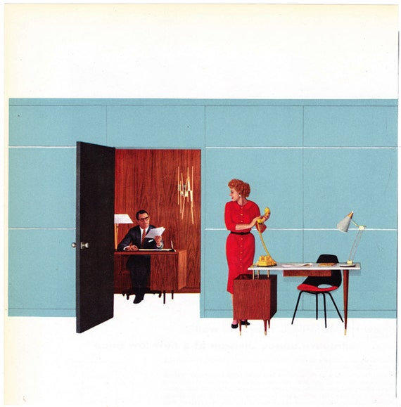 Vintage photo illustration office furniture boss secretary late 1950s ad Mad Men era - Free U.S. shipping