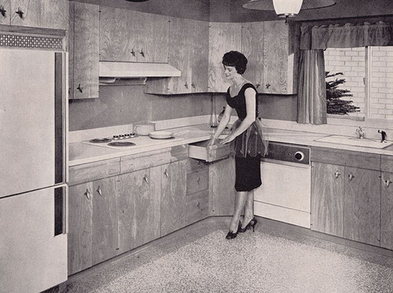 1961 ad wood kitchen cabinets by Long-Bell retro 1960s Mad Men housewife - Free U.S. shipping