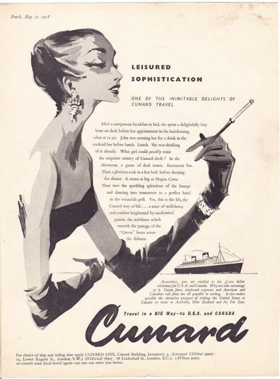 Vintage Ad 1958 Cunard Line Elegant Woman Advert Travel Cruise