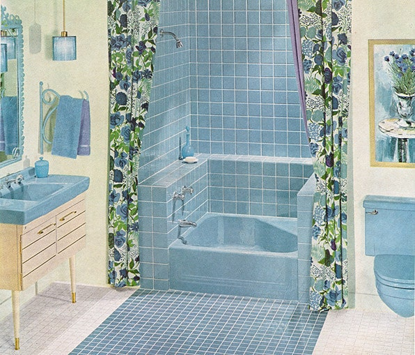 1961 Ad Blue Bathroom Tile By American Olean Vintage Bath