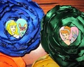 Disney Princess Hair Clips  MADE TO ORDER Flower Barrettes red, yellow, white, orange