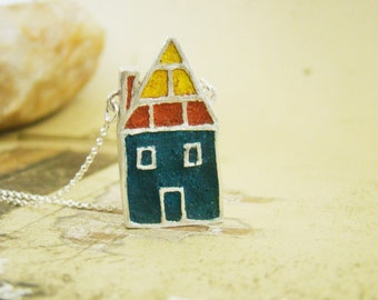 Home sweet home, fine silver house in red blue yellow concrete art clay fine silver metal clay bezel necklace