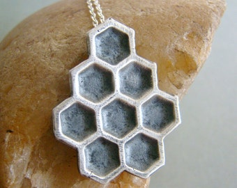 Beehive handmade art clay fine silver sterling silver necklace