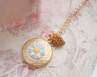 Romantic blue daisy, vintage raw brass round flora gold tone locket necklace, pine, pearl, gift , swarovski crystal, butterfly, gold filled