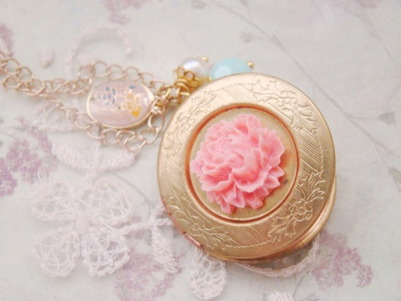 Rose cameo petite oval vintage charm mint swarovski crystal pearl vintage round locket gold filled necklace, gift for her, spring,