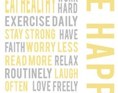 Be happy positive life quotes typographic print wall art gray yellow office decor motivational poster inspirational quote print wall decor