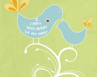 I carry your heart in my heart Typographic print digital illustration wall decor typography poster emotional print quote art wall sign green