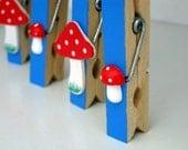 Toadstool magnets blue - set of 4