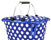 Personalized Royal Blue with White Polka Dots Market Tote Basket