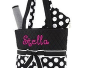 Monogrammed Quilted Black with  White Polka Dots Diaper Bag Personalized
