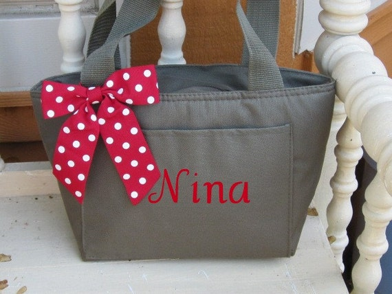 Monogrammed Olive Green Insulated Lunch Bag Box Cooler Personalized