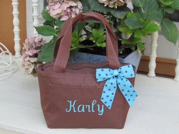 Monogrammed Coco Brown Insulated Lunch Bag Box Cooler Personalized Next Day Shipping