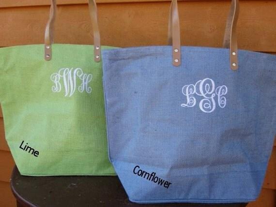 Monogrammed / Personalized  Large Jute Tote Burlap Bag 11 Colors