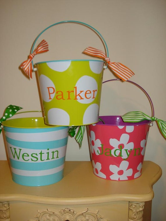 PERSONALIZED Easter Pail (4 patterns available-stripes, polka dots, or flowers)