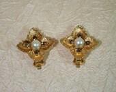 Vintage crystal clip earrings with dark citrine rhinestones