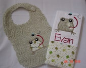 Baby Boy Bib and Burp Cloth Set with Cute Frog Applique in Sage Green Chenille with Frog Print Fabric